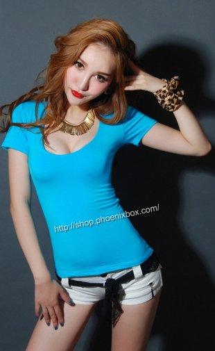 チビT ピタピタSEXY半袖 隠れ巨乳Tシャツ ブルー エステ制服 激安通販