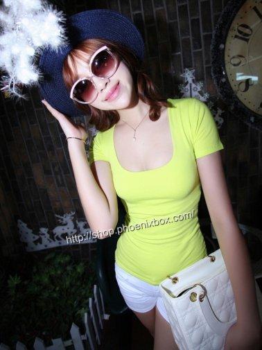 チビT ピタピタSEXY半袖 隠れ巨乳Tシャツ ライトミント エステ制服 激安通販