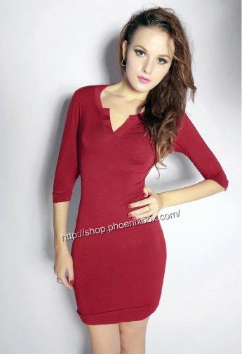 タイトワンピ ボディコン仕様の七分袖sexy胸元開き 赤 ミニワンピ 激安通販