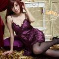 シルク風ロングスリップ・紫