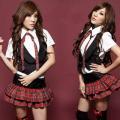 AKB48風セーラー服セクシーコスプレ チェック柄2段フレアスカート激安女子高生制服