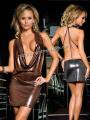 ミニドレス ブラウン胸あきドレープ 海外セレブ級豪華シャイニー素材