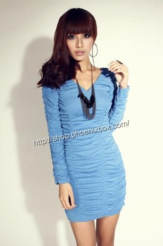 セクシーボディコンでグラマラスな体をシャーリング長袖タイトミニドレス ブルー 激安通販