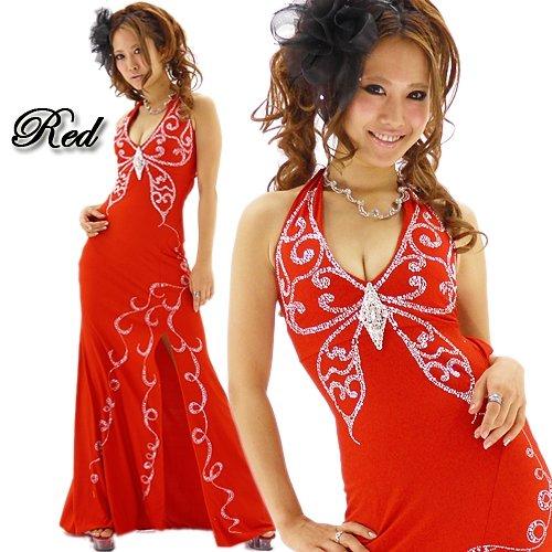 キャバドレス豪華 ブローチ付きバスト蝶型スタッズライン赤セクシーロングドレス 激安通販