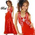 ブローチ付きバスト蝶型スタッズライン赤セクシーロングドレス