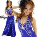 キャバドレス ブローチ付きバスト蝶型スタッズライン ブルー