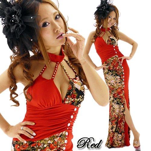キャバドレス 赤のチャイナネック切替金ラメ和柄ロングドレス 激安通販