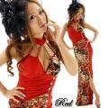 キャバドレス 赤のチャイナネック切替金ラメ和柄ロングドレス