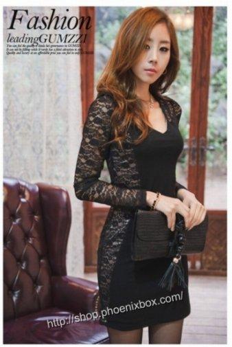 花レース長袖タイトワンピ 黒 セクシーキャバ嬢衣装 ボディコンワンピ 激安通販