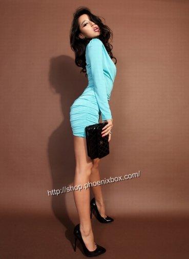 ボディコン セクシーワンピ ブルー長袖SEXYお尻包みキャバ嬢指名人気1位 激安通販