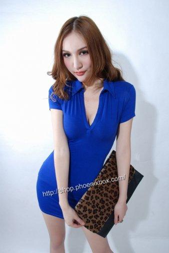ボディコンワンピ ブルーの大人女子深Vネック半袖セクシー制服 激安通販