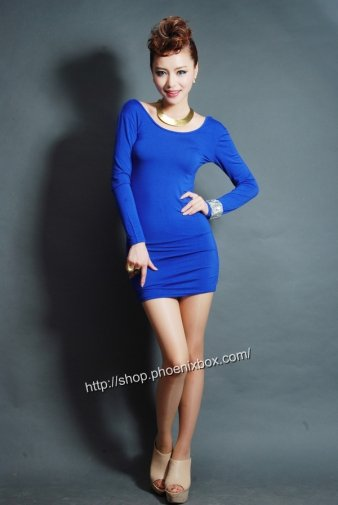 ボディコンワンピ ブルーの大人女子長袖、背中魅せ超セクシーパーティー二次会 激安通販