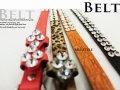 ファッションベルト ダイヤ柄キラキラ レディース 幅細いタイプ 赤