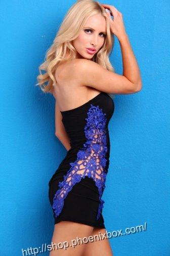 ボディコンワンピ ベアトップワンピース ブルー色花柄デザイン入り超セクシークラブ衣装 激安通販