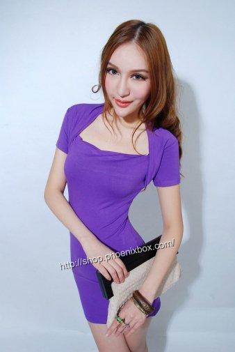 ボディコン 紫 お尻ピッタセクシー半袖ミニワンピ 彼女のデートワンピ 激安通販