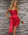 ベアミニドレス・赤・スパンコール付・パーティ衣装