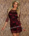 セクシー豪華花柄レース7分袖ミニドレスsexyパーティ衣装 赤 色っぽいホステス