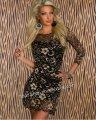 タイトワンピ ベージュ セクシー豪華花柄レース7分袖ミニドレスsexyパーティ衣装