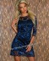 タイトワンピ ブルー 豪華花柄レース7分袖ミニドレスsexyパーティ衣装