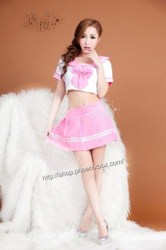 女子高生セーラー服 白×ピンクsexyコスプレ可愛いリボンにミニスカ Tバックショーツ 激安通販