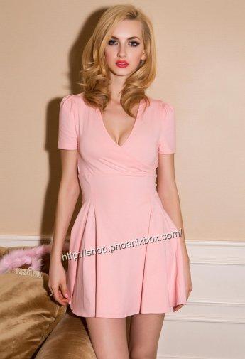 ミニワンピ ベビーピンク色の深V襟SEXY可愛い印象のハイウェスト半袖ミニドレスワンピ 激安通販