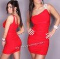 ミニドレス ワンショルダー パーティー衣装 赤