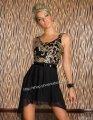 ミニドレス 黒×金スパンコール ベルト付きハイウェスト・パーティードレス