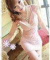 ピンク色のノースリープミニワンピ 胸元見せセクシー美脚ファッション