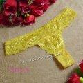 エロ下着 エロセクシー熟女の総レースショーツ・黄色のエッチなTバック