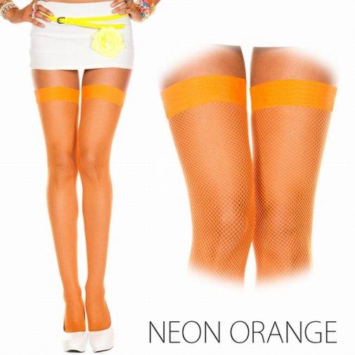オレンジ色のネット タイハイストッキング 脚透け感フェチ