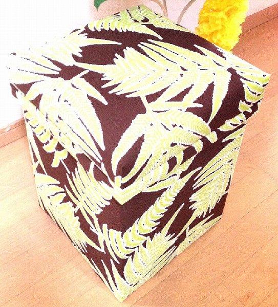 ハワイアンファブリック茶箱 パラパライ ブラウンベース