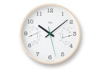 レムノス時計 TRIO 温湿度計付時計 ホワイト