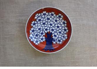 【源右衛門】赤濃桜図 銘々皿Φ145(5枚組)