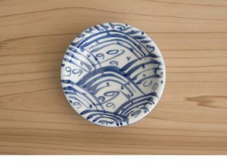 【源右衛門】染付四海波 (丸型)小皿