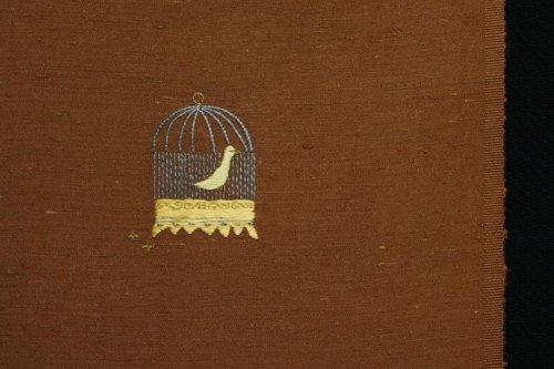 紬地・手刺繍 半衿(鳥かご)