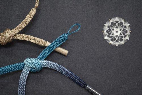 羽織紐 手組み(青から藍)