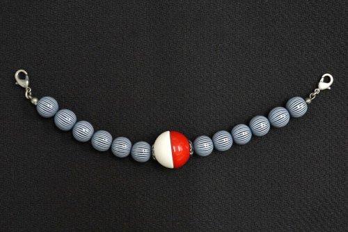 羽織紐 モダン(紅白・縞)