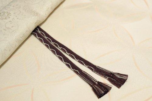 羽織紐 手組み(茶・銀白色)
