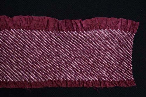 絞り半襟(梅紫色)