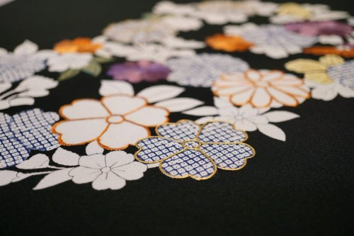 塩瀬 染名古屋帯「春秋花の丸」