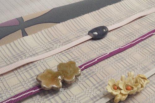名古屋帯 桜色白茶段尺・松尾鏡子 作