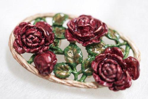 ピューター製 帯留め(薔薇)