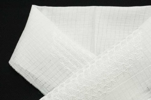 小千谷 刺繍半衿(麻の葉)白