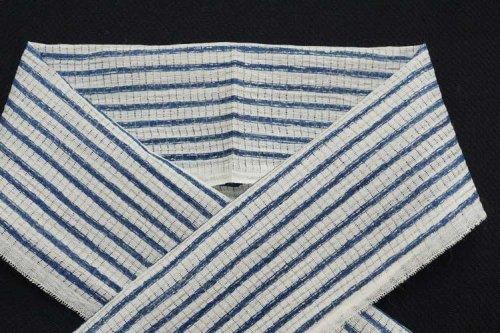 小千谷 半衿(縞)紺桔梗