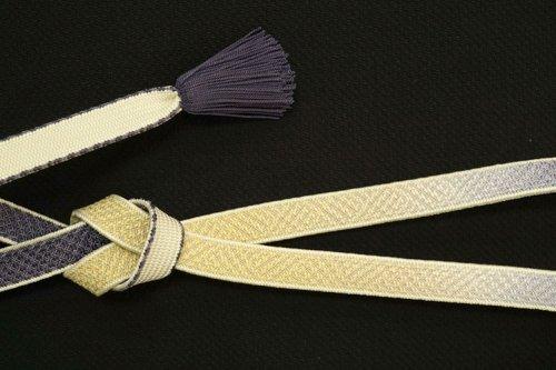 礼装用 帯締め(深滅紫×黄唐紙)