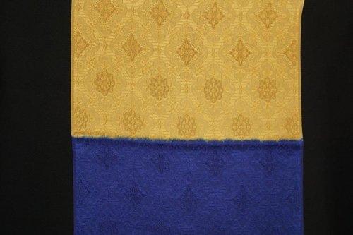 織巧紋 水引き染分け 帯揚げ(瑠璃*黄大津色)