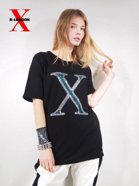 ◎新商品★R-LONDON★XブルーラインストーンヨークTシャツ