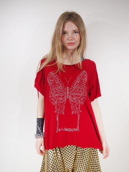 ◎新商品★R-LONDON★オーロラバタフライリボンホーリングオーバーTシャツ