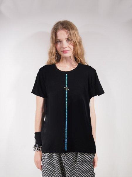 ◎新商品★R-LONDON★ツートンカラーシャイニーストライプラインビッグTシャツ