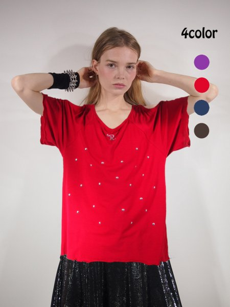 ◎新商品★R-LONDON★シャイニーメタルドットホーリングオーバーTシャツ
